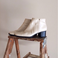Vintage 70's White Vegan Leather Ankle Boots
