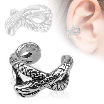 Ear Cuff Silver Snake  Clip on Non Piercing Body Jewelry Rhodium Plated Fake Piercing Jewelry