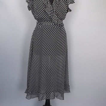 Size 14 Large Vintage 80s does 1940s Black White Polka Dot Dress Retro 30s Style Frilly Gown Hipster Sailor Girl Burlesque Pin Up Girl
