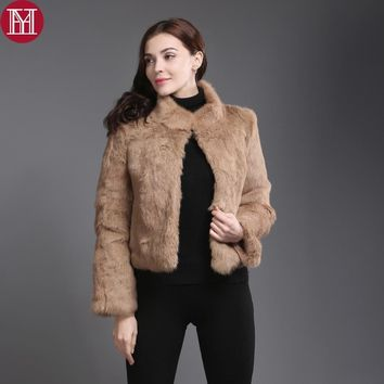 2017 New Genuine Rabbit Fur Coat Women Full Pelt Real Rabbit Fur Jacket Winter Fur Overcoat Customized Big Size Mandarin Collar