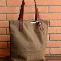 Waxed canvas bag - Tote bag - Handmade waxed canvas tote - Waxed canvas shoulder bag - Every day bag - market bag - sea bag