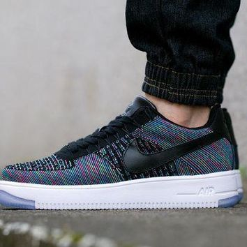 DCCKBE6 Nike Air Force 1 Rainbow 817419-002 Black For Women Men Running Sport Casual Shoes Sneakers