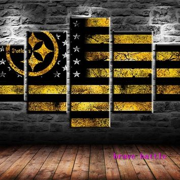 Pittsburgh Steelers Spor Flag Canvas Painting Living Room Home Decor Modern Mural Art Oil Painting