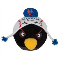 MLB New York Mets Angry Bird Plush Toy, Small, Black