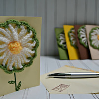 Cream Greeting Card Crochet Daisy With Envelope - All Occasion Thank You, Birthday, Etc.