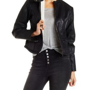Black Faux Fur Lined Moto Jacket with Pockets by Charlotte Russe