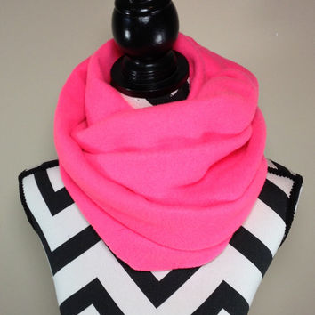 Neon Pink Scarf, Neon Pink Fleece Infinity Scarf, Winter Scarf