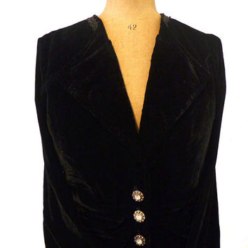 Vintage 1980s boho black velvet jacket with crystal diamante buttons SizeAUS/UK 10, US 6