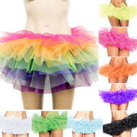 Rainbow Colour 7 Tiered Petticoat Burlesque Bustle Rara Dancer Tulle Tutu Skirt