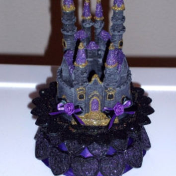 Custom DELUXE Purple and Gold Gothic Castle Wedding Cake Topper
