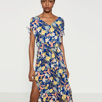 PRINTED DRESS WITH SHOULDER OPENING