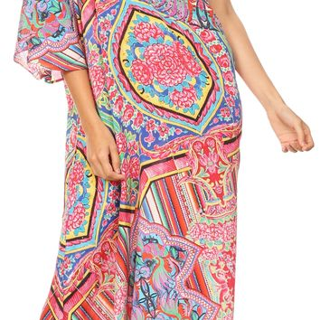 Sakkas Dora Women's One Shoulder Short Sleeve Casual Elegant Maxi Dress with Print