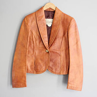 Classic Brown Leather Blazer Jacket Short fitted Leather Jacket 90s Vintage Blazer Size S #O156A