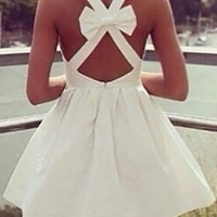 White Sleeveless Wide Strap X Back Bow Skater Circle A Line Flare Mini Dress