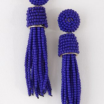 HAVANA BEADED TASSEL EARRINGS - BLUE