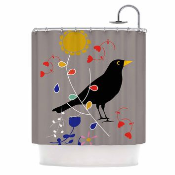 "bruxamagica ""Black Bird Grey"" Beige Black Animals Floral Mixed Media Illustration Shower Curtain"
