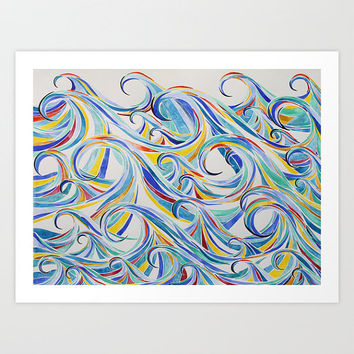 Waves Watercolor Print- Giclee print of original watercolor painting, available in multiple sizes