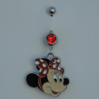 Cute Rare Minnie Mouse Red BOW Polka Dot Dangle Rockabilly Navel Belly Button Ring 316L