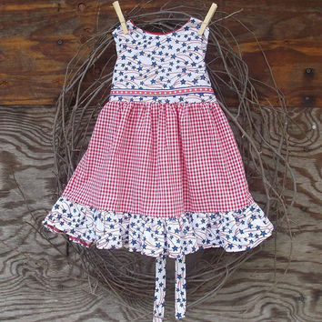 Baby Girl Dress red, white, blue, 4th of July,  size 12 months, ruffles, sash tie