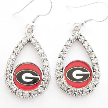 Georgia Bulldogs NCAA Teardrop Silver Crystal Rhinestone Earrings