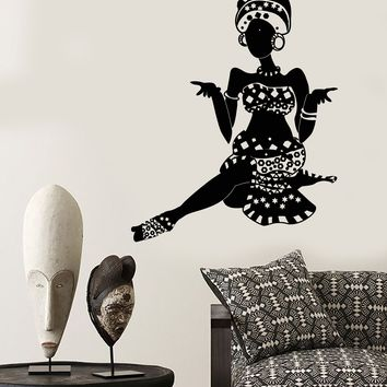 Vinyl Wall Decal African Woman Turban Native Black Girl Stickers Unique Gift (1824ig)