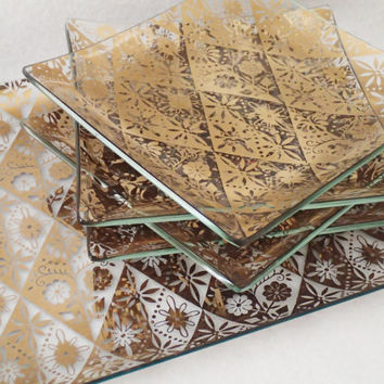 Bent glass Appetizer set gold floral design mid century 5 serving set, tray and  4 snack plates from the 1960s