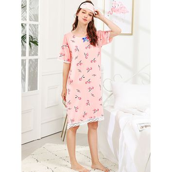 Cherry And Letter Print Night Dress With Eye Mask