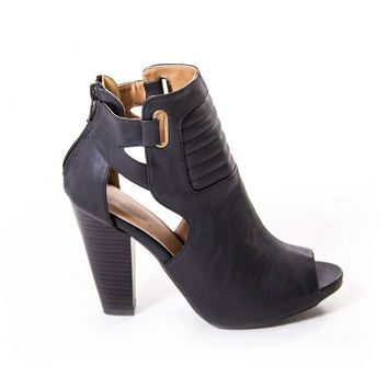 After Midnight Black Bootie Heels