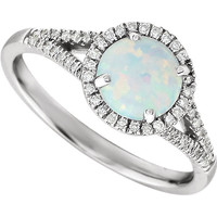 14kt White Gold Created Opal & 1/5 CTW Diamond Ring
