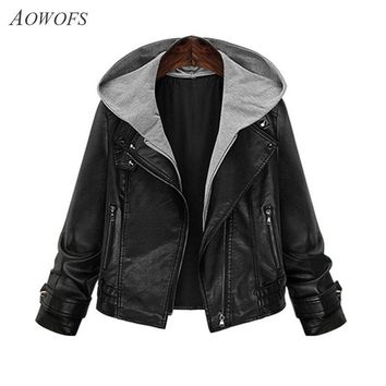 AOWOFS Woman Hooded Leather Jacket 2017 Spring Autumn Black Plus Size Long Sleeve Vintage Locomotive hoodies Coats YS1976