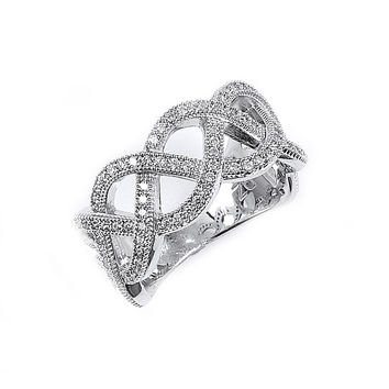 Sterling Silver Rhodium Plated and Cubic Zirconia Woven Ring