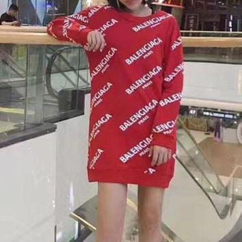DCCKHI2 Balenciaga Casual Print Long Sleeve Bodycon Mini Dress