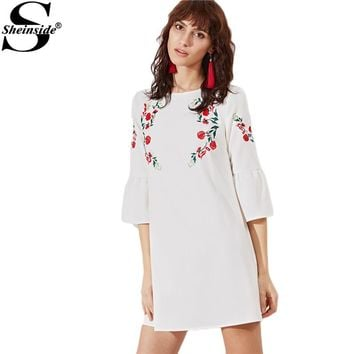 Sheinside Vintage Boho Dress Women White Bell Sleeve Embroidered Cute Mini Tunic Dresses 2017 Summer Brief Beach Bohemian Dress