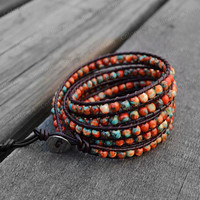 Leather Bracelet Rainbow Stone Wrap Bracelet Beaded Bracelet Leather Wrap Bracelet 4mm Beaded Bracelet with Brown Leather Cord