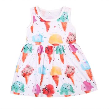 Little Girl Summer Ice Cream Printing Dress Infant Baby Girls Colorful A-line Dresses Sleeveless Girl's Floral Party Dresses