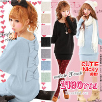 Rakuten: [mohair-like soft and fluffy touch ♪ back ribbon dolman knit one piece  ] P]It has been had ◆- Shopping Japanese products from Japan