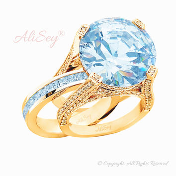 14K Yellow Gold, Sky Blue Topaz with Diamonds Wedding Set. Style # ASR07YG-BTZ