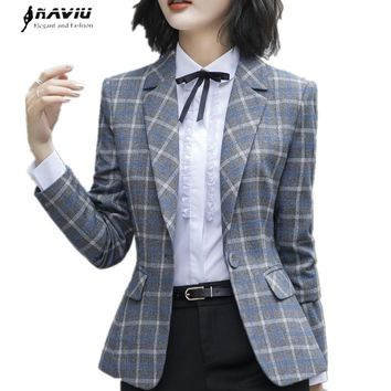 Fashion Plaid blazer coat women autumn winter New chic long sleeve casual plus size jacket office ladies work wear