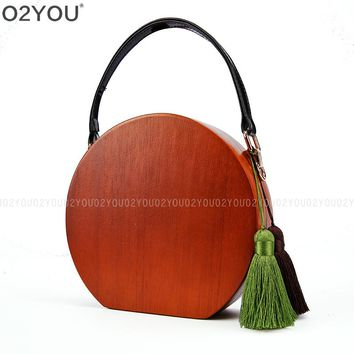 Barrel-Shaped Wood Material With PU Leather Handle Fashion Wood Totes Bags Women Travel Round Handmade Clutch Bags Beach Purse