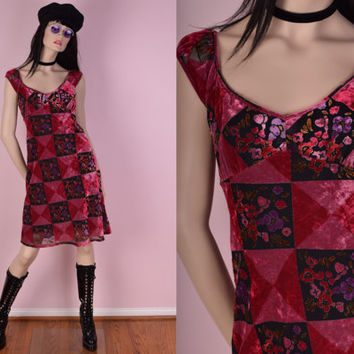 90s Does 70s Crushed Velvet Floral Burnout Dress/ US 7/ 1990s