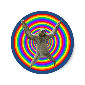 Rainbow Sloth Classic Round Sticker