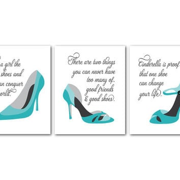 Fashion Wall Art Trio - Fashion Shoes - Fashion Quotes - Room Decor - Good friends and good shoes - Give a girl the right shoes - Cinderella