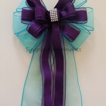 Turquoise Purple Bling Wedding Pew Bow Blue Purple Wedding Bow Ceremony Decoration Eggplant Turquoise Church Aisle Pew Bow