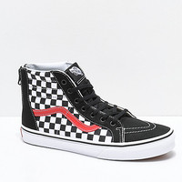 Vans Sk8-Hi Zippered Black & Red Checkerboard Skate Shoes | Zumiez