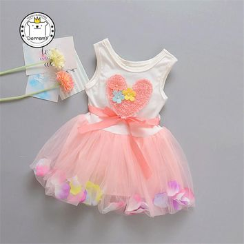 Baby Girl Dress New Summer 2017 Girl's Yarn Cotton Flower Bow New Born Baby Yarn Dress Soft Baby Girls Infant Clothes
