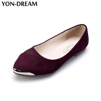 Yon-Dream Women Flats Wedding Shoes Hot Flock Pointed Toe Lolita Shoes Soft Anti-Skid Bling Casual Shoes For Woman