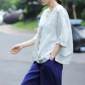 ICIKON3 Womens t shirt soft white handmade embroidery loose linen and cotton pullover t shirt top female yijiu