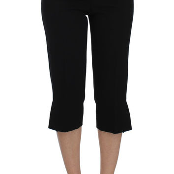 Dolce & Gabbana Black Wool Stretch High Waist 3/4 Pants