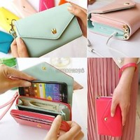 Multifunctional Envelope Wallet Purse Phone Case For Samsung Galaxy S5 i9600 SV