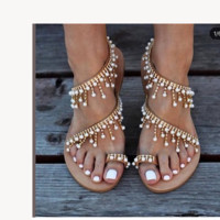 Free shipping ladies leather sandals and casual pearl shoes